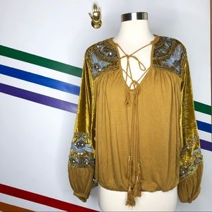 NEW Free People hearts aflame linen blend top